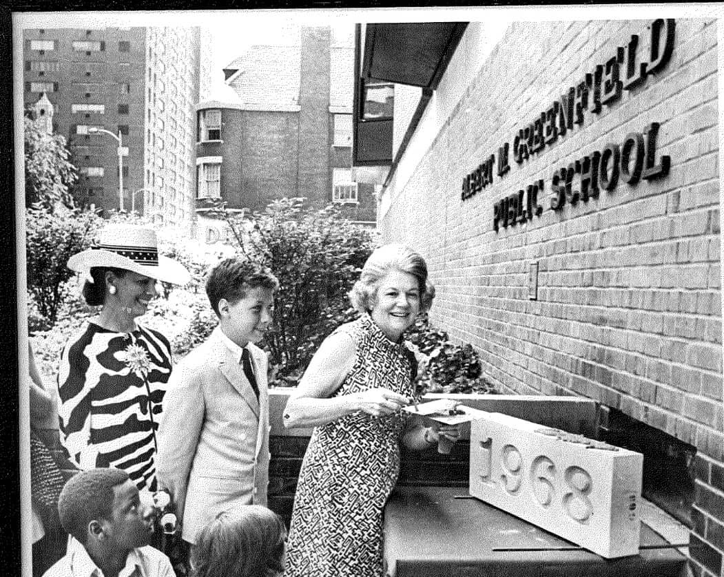 Mrs. Albert M. Greenfield Officiated The Cornerstone Ceremonies For The Elementary School Named In Memory Of Her Late Husband.